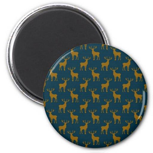 Deer Pattern Brown and Blue Fridge Magnets