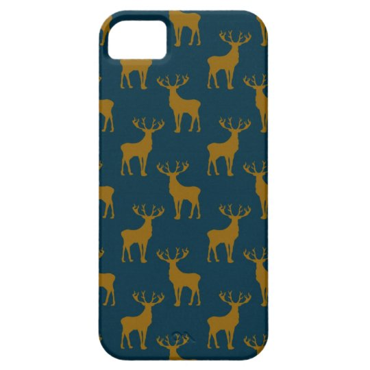 Deer Pattern Brown and Blue iPhone SE/5/5s Case