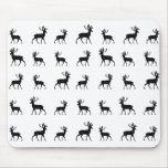 Deer pattern in Black and White Mouse Pad