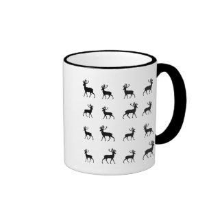 Deer pattern in Black and White Ringer Coffee Mug