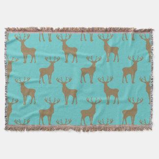 Deer Pattern in Brown on Turquoise Throw Blanket