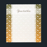 "Deer pattern on gradient background notepad<br><div class=""desc"">Deer hunting pattern on orange to green gradient background.</div>"