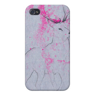 Deer pencil drawing with pink ink stain pattern iPhone 4/4S cover