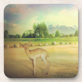 deer photo collage coaster