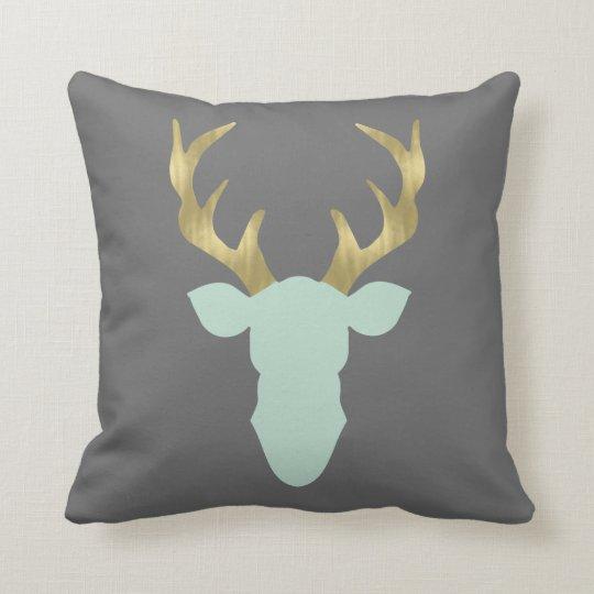 Deer Pillow, Deer Head, Antlers, Editable Color Throw