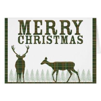 Deer & Pine Tree Plaid Christmas Card