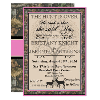 Wonderful Deer Pink And Camouflage Wedding Invitation