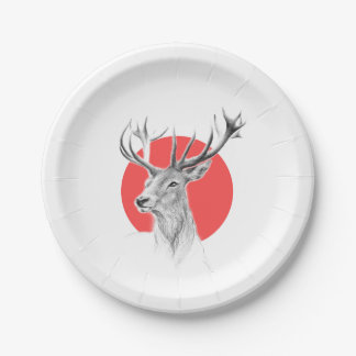 Deer portrait pencil drawing red circle Plates