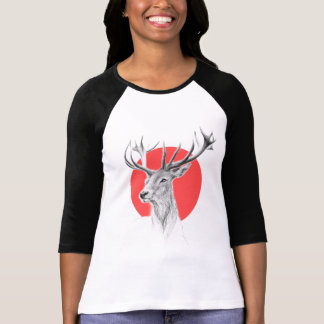 Deer portrait pencil drawing red circle T-shirt