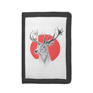 Deer portrait pencil drawing red circle Wallet