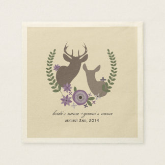 Deer + Purple Floral Wedding Napkins