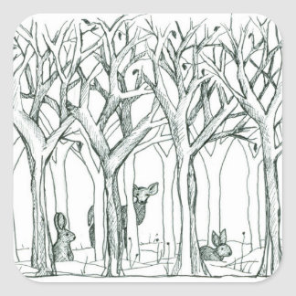 Deer Rabbits Wildlife Forest Trees Ink Drawing Square Sticker