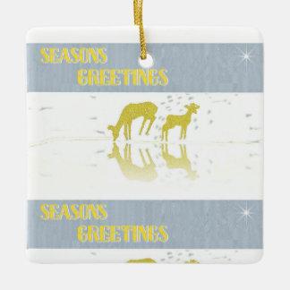 Deer Reflection- Star Ceramic Ornament