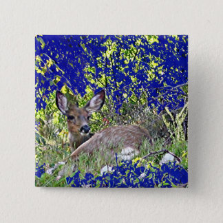Deer Resting Relaxing in Blue Green Grass Trees Pinback Button