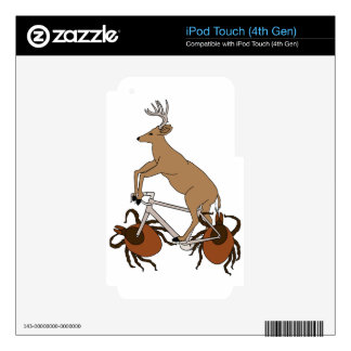 Deer Riding Bike With Deer Tick Wheels iPod Touch 4G Decals