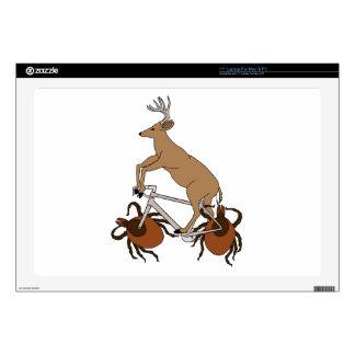 "Deer Riding Bike With Deer Tick Wheels Skin For 17"" Laptop"