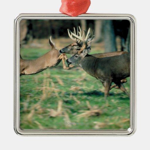 Deer running in forest metal ornament