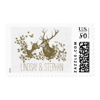 deer rustic wedding postage stamps