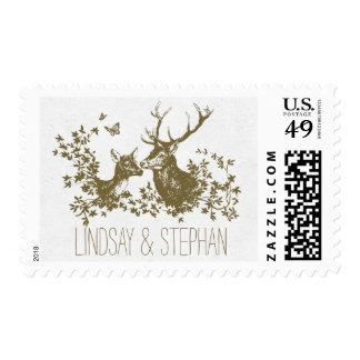 deer rustic wedding postage stamps