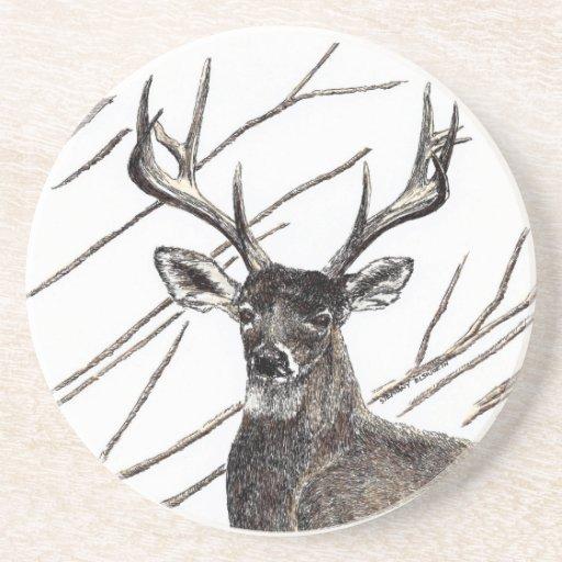 Deer sandstone drink coaster zazzle - Sandstone drink coasters ...