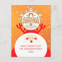 Deer Santa Merry Christmas Happy New Year Greeting Holiday Postcard