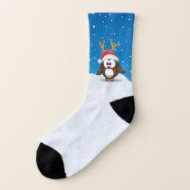 Deer Santa owl - socks