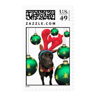 Deer Santa Postage Stamp