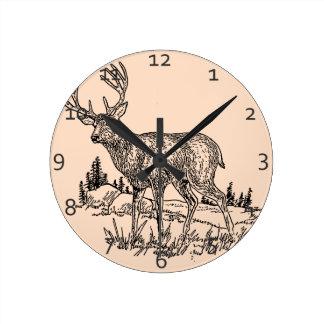 Deer Scene Round Clock
