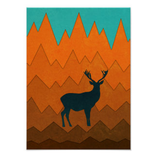 Deer silhouette autumn fall colorful design Poster