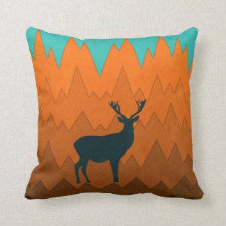 Deer silhouette autumn fall colorful Throw pillow