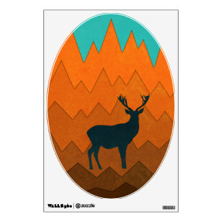 Deer silhouette autumn fall colorful Wall sticker