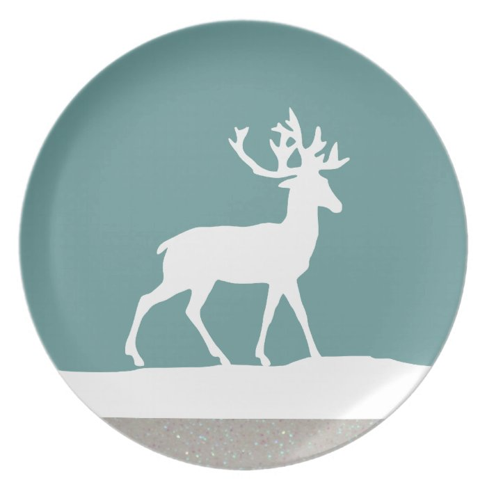 Deer Silhouette - Blue and White Plate