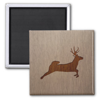 Deer silhouette engraved on wood design 2 inch square magnet