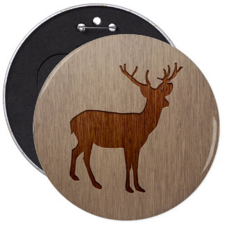 Deer silhouette engraved on wood design button