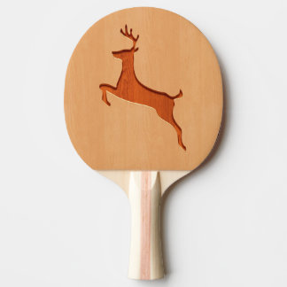 Deer silhouette engraved on wood design Ping-Pong paddle
