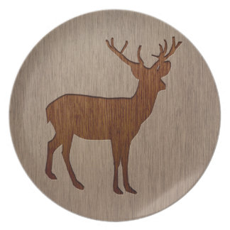 Deer silhouette engraved on wood design melamine plate