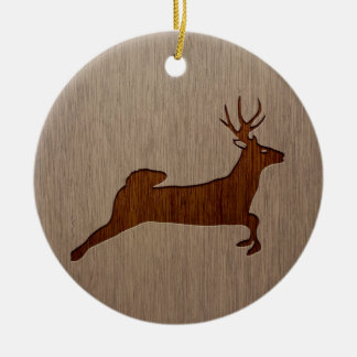 Deer silhouette engraved on wood design Double-Sided ceramic round christmas ornament