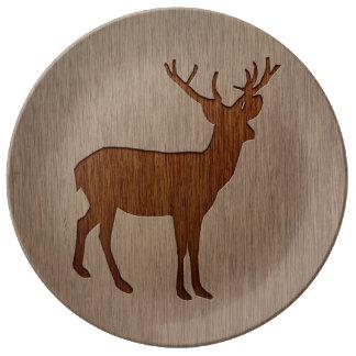 Deer silhouette engraved on wood design plate