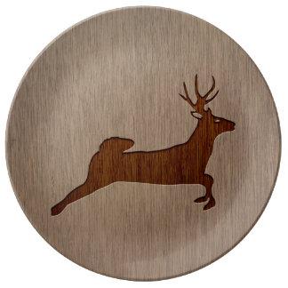 Deer silhouette engraved on wood design porcelain plate