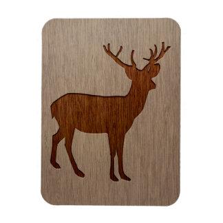 Deer silhouette engraved on wood design rectangular photo magnet