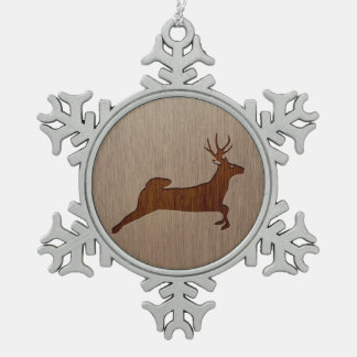 Deer silhouette engraved on wood design snowflake pewter christmas ornament