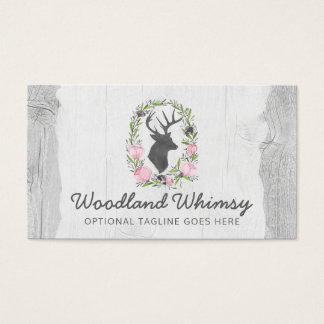 Deer Silhouette Floral Wreath Cameo on Rustic Wood Business Card