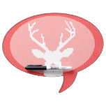 Deer Silhouette in Red and White Sweater Knitting Dry Erase Whiteboard