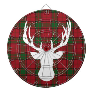 Deer Silhouette on Plaid Dartboard