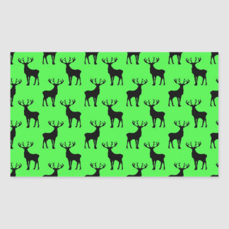 Deer Silhouette on Vivid Green Rectangular Sticker