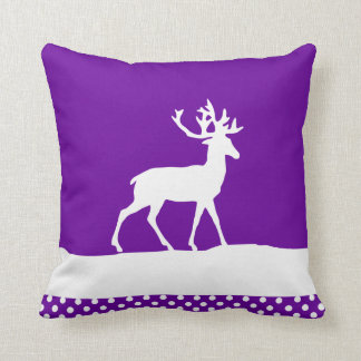 Deer Silhouette - Purple and White Throw Pillow