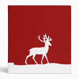 Deer Silhouette - Red and White Binder