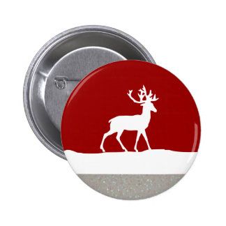 Deer Silhouette - Red and White Button