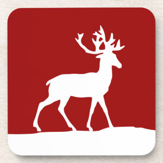 Deer Silhouette - Red and White Beverage Coaster