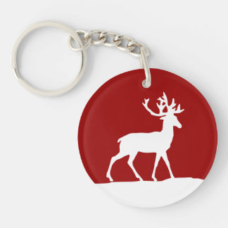 Deer Silhouette - Red and White Keychain